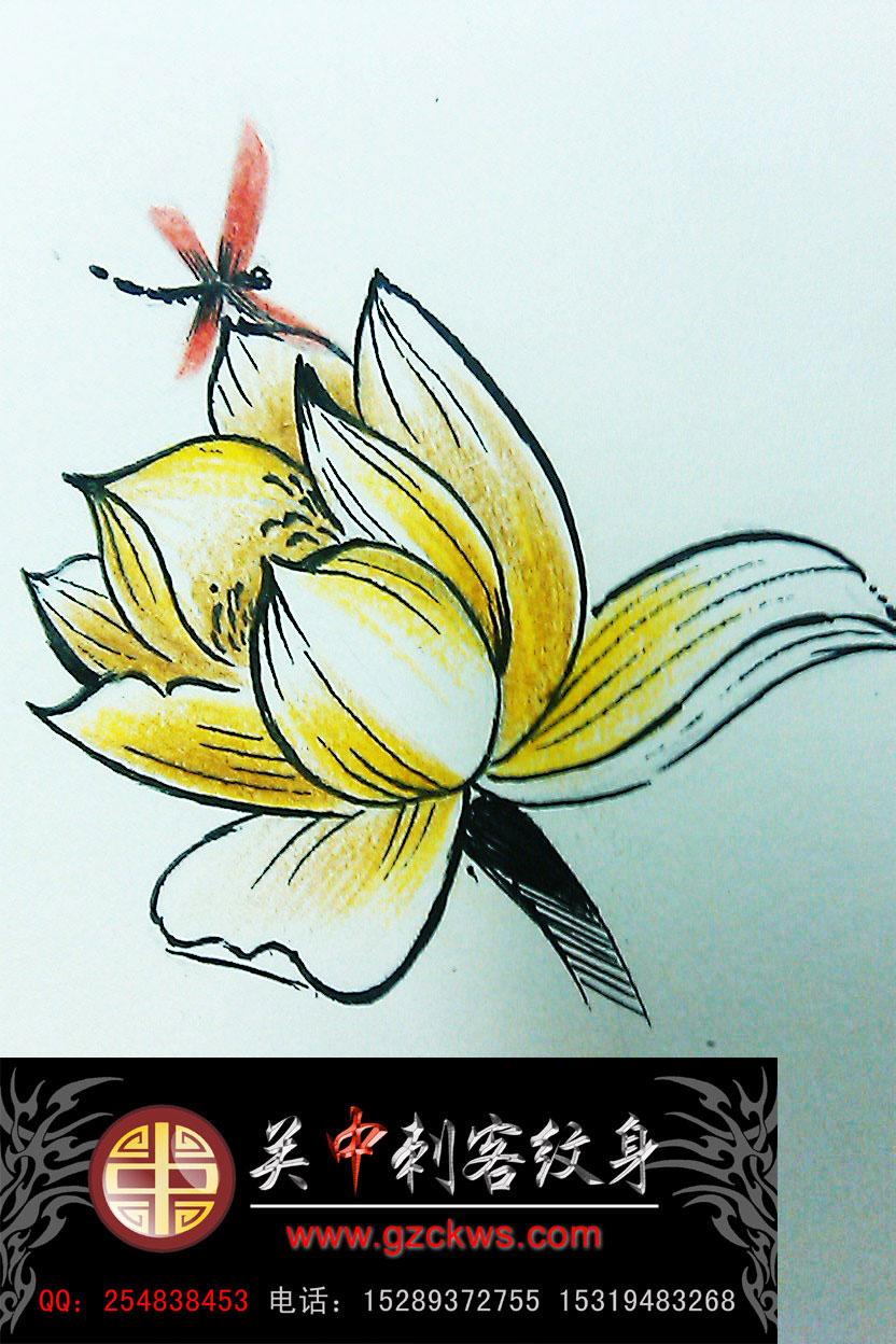 西安纹身 荷花纹身手稿