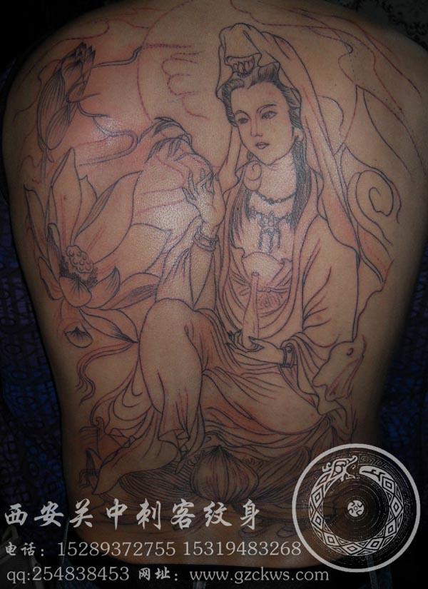 西安纹身 满背菩萨割线