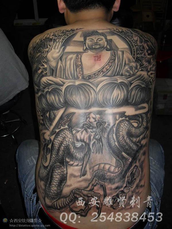 满背纹身,满背佛纹身图片